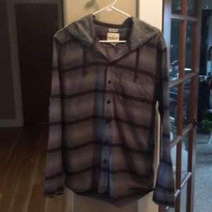 Hooded button-up shirt Gray stripes American Eagle